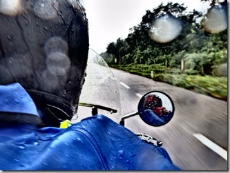 Motorcycling in the rain Mexico Tulum